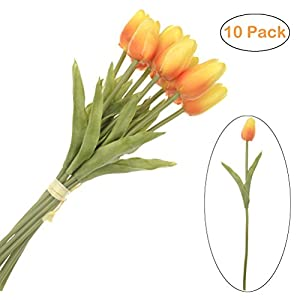 SunshineTrees 10pcs Artificial Tulips Flowers Arrangement Bouquet Single Stem Real PU Touched for Home Office Wedding Parties 36