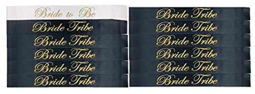[CBC Brand] 12 Piece Bachelorette Party Sash Set: 11 x Bride Tribe in Gold Letters on Black, 1 x Bride to BE in Gold Letters on White (Party Favors for Hen Party, Bridal Shower & Wedding Decorations) (Best Places To Go In Nashville For Bachelorette Party)