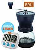 SALE! Manual Coffee Grinder – FREE DIGITAL TIMER INCLUDED! Ceramic Hand Burr Coffee Mill – with Glass Storage Container and Protective Lid, Black For Sale