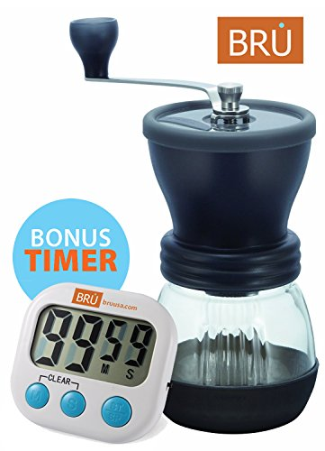SALE! Manual Coffee Grinder – FREE TIMER INCLUDED! BRU USA Ceramic Hand Burr Coffee Mill – with Glass Storage Container and Protective Lid, Black