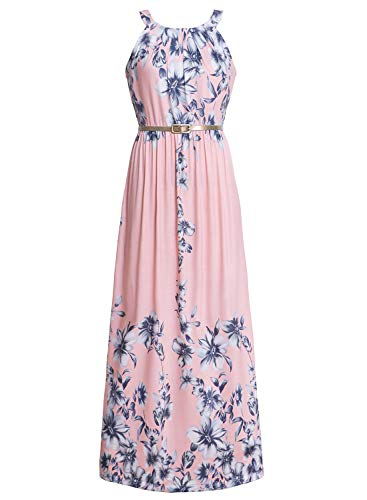 Ruiyige Formal Print Dresses,for Women Sleeveless Maxi,Pink,X-Large(Fits Like US 10)