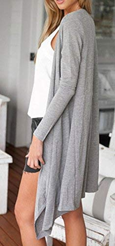Moda L A Pullover Di Maglieria marca di Donna Elegante Maglia Autunno Manica Comodo Size Fit Moda A Mode Cappotto Grau Maglie Maglia Color Monocromo Slim Lunga Giacca FdHwq1dnU