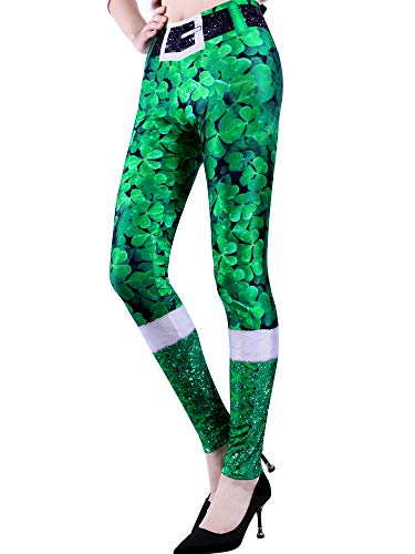 (Chuangdi St. Patrick's Day Leggings Irish Stretchy Tights Women Holiday Costume Tights for Irish Party Favor (Color 1,)