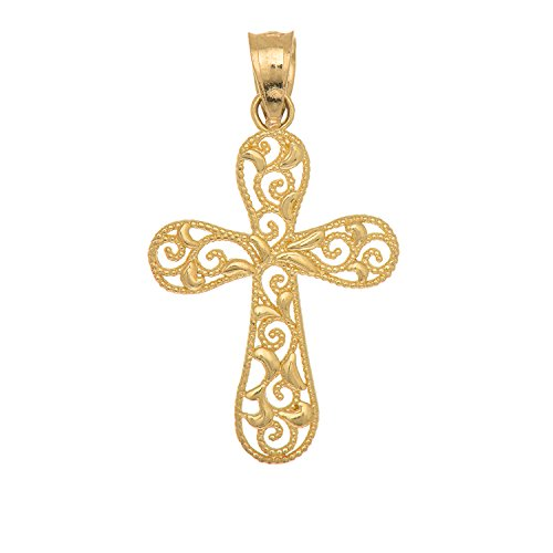 JewelStop 14K Solid Yellow Gold Filigree Cross Charm Pendant (Gold Filigree Cross Necklace)