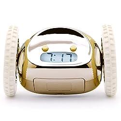 Clocky, the Original Runaway Alarm Clock on Wheels, Gold