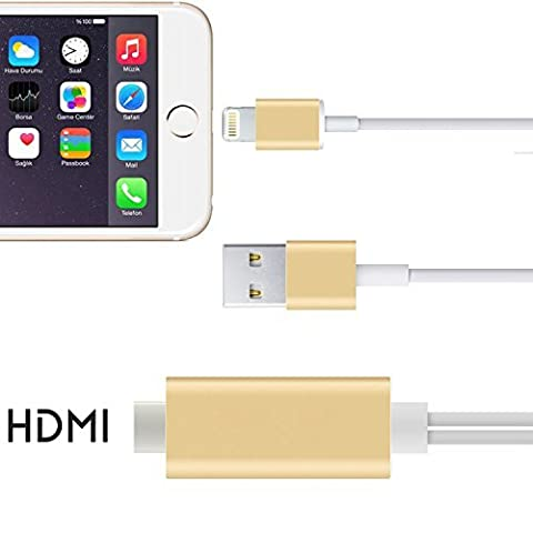 FST High-Speed HDMI Cable, 64Ft MHL to HDMI 1080p HDTv Adapter Cable for iPhone 5S 5 SE 6 Plus 6S Plus iPad Air Mini Need Personal Hotspot Support (Hdmi Tv Adapter For Iphone 5s)