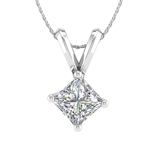 1/2 Carat Solitaire Pendant Necklace with Princess-cut Diamond in 14K White Gold(I2-I3 Clarity)-IGI (1/2 Carat Princess Cut Solitaire)