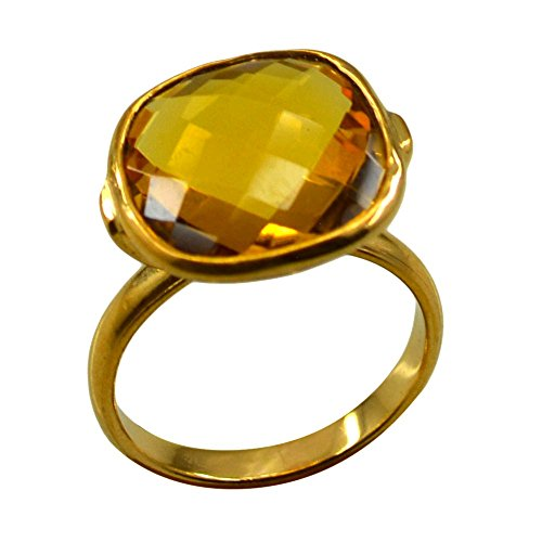 Citrine CZ Gold Plated Ring For Women Jewelry Cushion Shape Checker Cut Fashion Size 5,6,7,8,9,10,11,12 (Fashion Cut Ring Citrine Cushion)