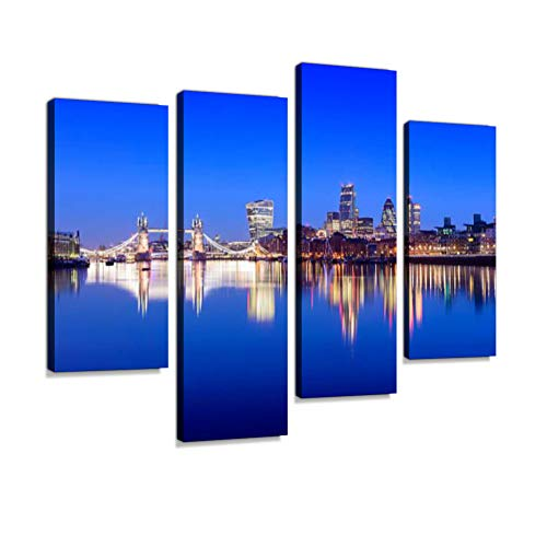 Tower Bridge and London City Skyline Reflection at Twilight Canvas Wall Art Hanging Paintings Modern Artwork Abstract Picture Prints Home Decoration Gift Unique Designed Framed 4 Panel