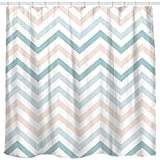 Pink and Green Striped Shower Curtain Sunlit New Zigzag Green and Pink White Chevron Shower Curtain, Striped Modern Geometric Pattern Bath Curtain Bathroom Decor 72