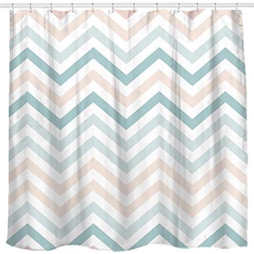 Green Striped Shower Curtain - Sunlit New Zigzag Green and Pink White Chevron Shower Curtain, Striped Modern Geometric Pattern Bath Curtain Bathroom Decor 72