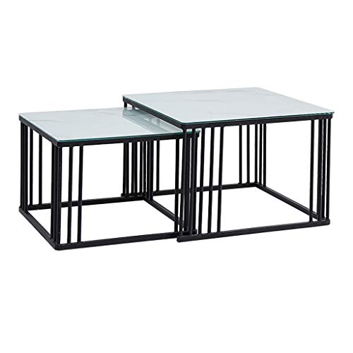 YUI-Coffee-Tables-Tray-Decorative-Side-Table-with-Storage-Tea-Table-Set-for-Living-Room-Bedroom-and-Hotel-Metal-Frame-and-Glass-Table-Top-Buffer-Protection-Cushion-Two-Piece-NestedBlack