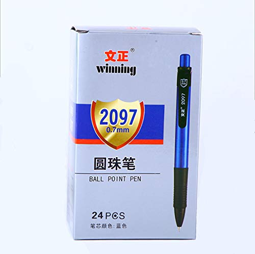 24 count retractable ballpoint writing pen fine point blue refill 0.7mm fine tip for office school home smooth writing comfort grip assorted color by Taoya (Image #1)