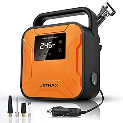 JETHAX Air Compressor Tire Inflator, 12V Portable Air Pump for Car Tires, Tire Pump with LED Light, Long Cable and Auto Shut Off Compatible with Car, Bicycle, Motorcycle, Balls, Inflatable Pool…: Automotive