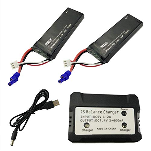 sea jump 2 X 7.4V 2700mAh 10C Lipo Battery Replacement with 2in1 Battery Charger for Hubsan X4 H501S H501C H501A H501M H501S W H501S pro FPV Quadcopter to Increase The Flight time(40mins)