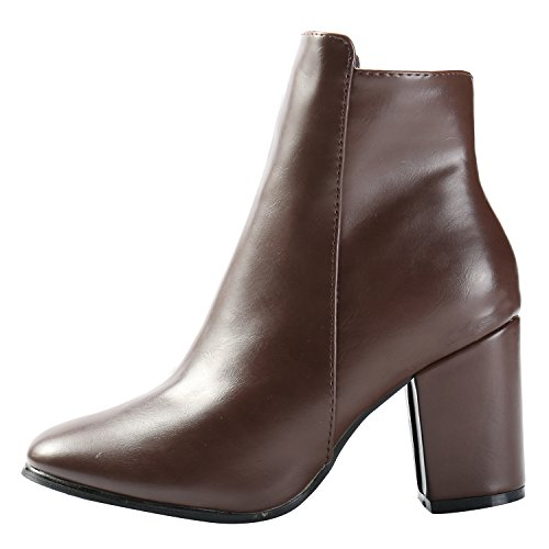 Alexis Leroy Women's Minimalism Style Mid Solid Heel Chelsea Ankle Boots Brown GcRu9r8q