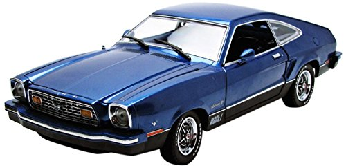 Greenlight 1976 Ford Mustang II Mach 1 Blue and Black Vehicle (1:18 Scale)