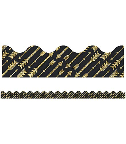 Black And Gold Border (Carson Dellosa Decorative Sparkle and Shine Gold Glitter Arrows Scalloped Borders)