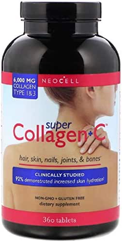 Super Collagen + C Type 1 & 3 Hair Skin Nails Joints Bones 6000 mg 360 Tablets