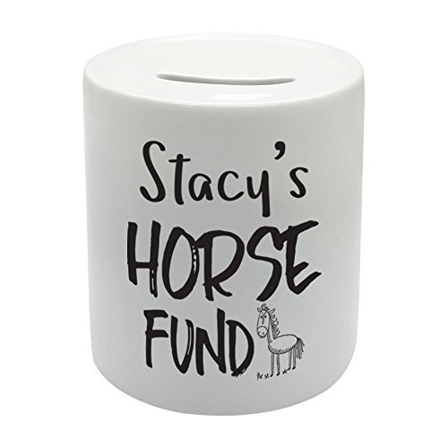 Coralgraph Inc BS086 Your Name Horse Fund Novelty Gift Printed Ceramic Piggy Bank Money Saving Box