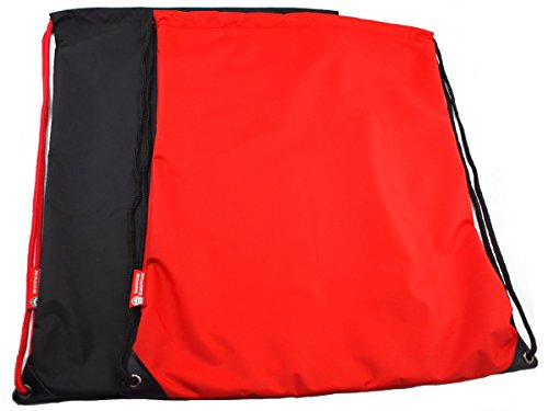 RE ROUGH ENOUGH Rough Enough Multifunctional 2pcs Pack Nylon Large Drawstring Shoulders Tote Cinch Sack Bag Daycare Sports Backpack Fitness Gym for Kids Boys Girls Men Women Black Red Review