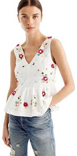 Used, J.Crew Women's Hand-Embellished Peplum top in Cotton for sale  Delivered anywhere in USA