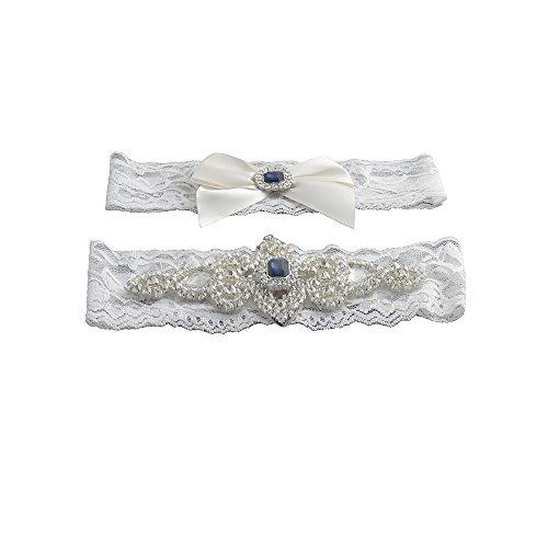 Classic Vintage Ivory Lace Garter Set with Blue Stone and Rhinestones, XLarge