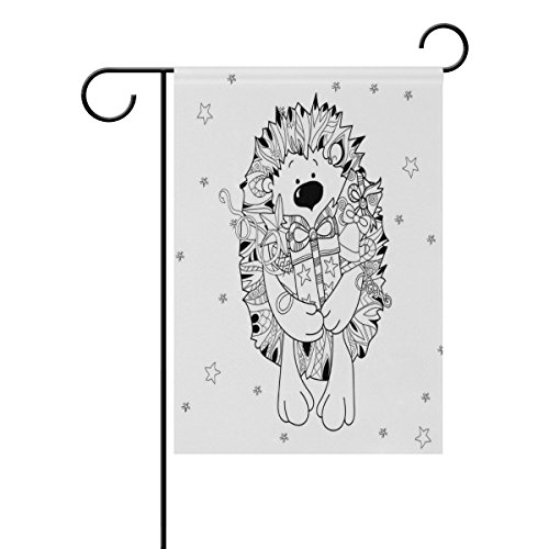 ALAZA Doodle Hand Drawn Xmas Hedgehog With Gift Box Garden F
