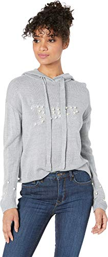 Juicy Couture Women's Pearl Trimmed Hoodie Heather Cozy Medium