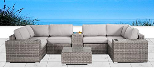 Living Source International Verona with Cushion [CM-5118] (10 Pc Cup Table Sectional Set, Verona Grey) (Verona Sectional)