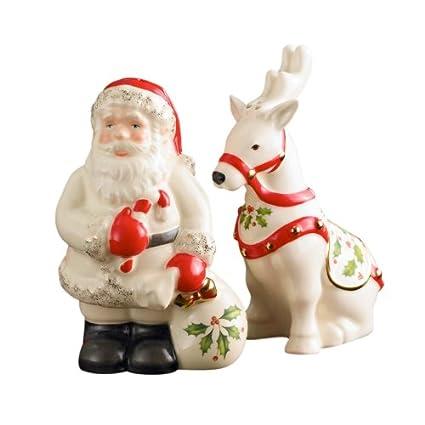 4817855c7eb Amazon.com  Lenox Holiday Santa   Reindeer Salt   Pepper Set  Salt ...