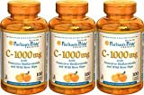 Puritan's Pride Vitamin C-1000 Mg with Bioflavonoids & Rose Hips 100 Caplets 3 Bottles