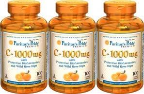 Puritan's Pride Vitamin C-1000 Mg with Bioflavonoids & Rose Hips 100 Caplets 3 Bottles