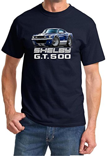 Shelby Gt500 Fastback - 1968 Shelby GT500 Mustang Fastback Full Color Design Tshirt 3XL Navy Blue