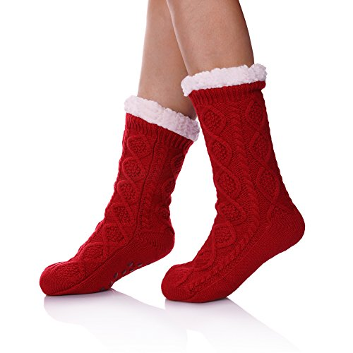 - SDBING Women's Super Soft Warm Cozy Fuzzy Fleece lined Twist Non-Slip Winter Christmas gift Slipper Socks (Red)