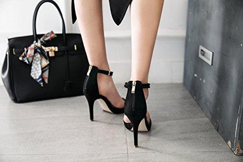 Dulce Sandalias Para Tacón Con Negro Hebilla Negras Xiaoqi Palabra Moda Belleza Mujeres Zapatos Alto Verano Encaje De Abierta rExXZTwq0r