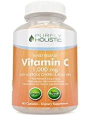 Vitamin C 1000mg 365 Capsules, 2 Stage Time Release with Ascorbic Acid, Rosehip and Acerola Cherry Bioflavonoid, One Year Supply, Immune System Booster, Skin, Nail & Hair Support, Vegetarian and Vegan