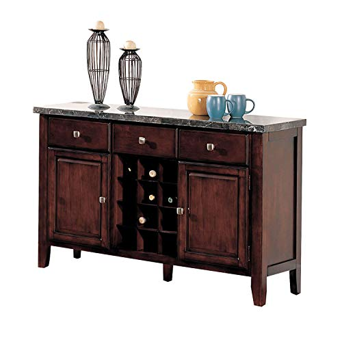 - Benzara BM177576 Wooden Server with Marble Top, Brown