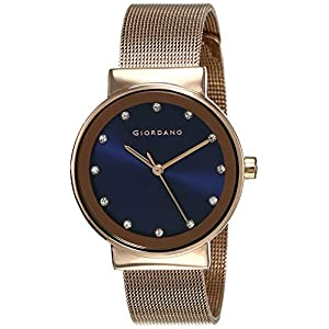 Giordano Women's Latest Fashion Blue Dial Rose Gold Mesh Band Watch, Model No. A2047-44