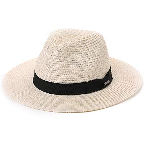 Womens Straw Fedora Brim Panama Beach Crushable Packable Havana Summer Sun Hat Party Floppy Ladies White (Best Quality Panama Hats)