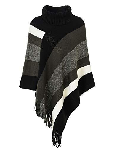 Ferand Women's Striped Turtleneck Oversized Poncho Sweater with Fringes Hems, Upgraded Turtleneck Style: Black & Grey