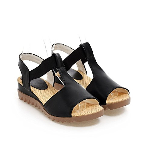 VogueZone009 Women's PU Solid Elastic Open Toe Low-Heels Wedges-Sandals Black si7BJHjOk
