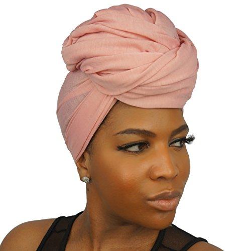 The Urban Turbanista Stretch Jersey Knit Head Wrap - Long Headwrap Scarf Tie by (70'' x 32'', Coral Pink) by The Urban Turbanista (Image #1)