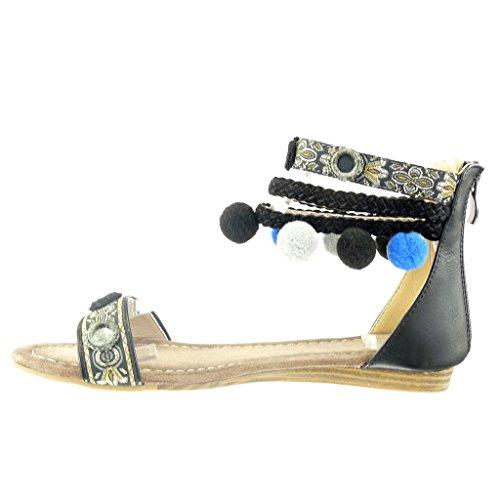 5 Tréssé Sandale Mode Pom Noir Multi Femme Talon Angkorly Chaussure Bloc Bride Ouverte 1 CM Pom 4qpwAC