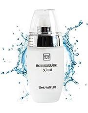 Hyaluronsäure Serum - 100% reine Hyaluronsäure - Schnell einziehende feuchtigkeitsspendende Anti-Aging & Anti-Falten Creme zum glätten feiner Linien und Falten für Gesicht und Augen- 50 ml