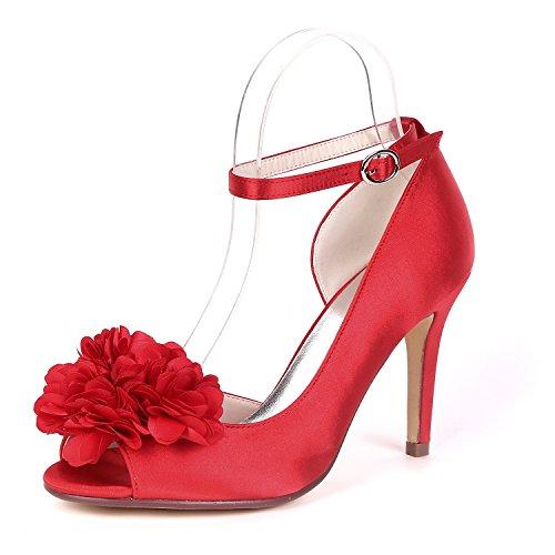 Peep L Mariage Grande Femmes pour Party Toe Chunky Chaussures MariéE YC De Talon Demoiselles 9cm d'honneur Sandales Taille Red De 1w10r