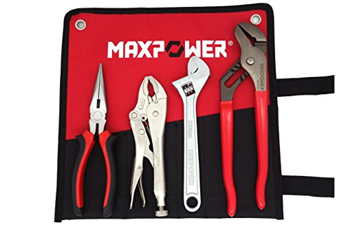 MAXPOWER Wrench and Pliers Set, 4 Pieces Kitbag Set, 7-Inch Locking Pliers, 8-Inch Adjustable Wrench, 8-Inch Water Pump Groove Joint Pliers and 8-Inch Long Nose Pliers in a Kitbag ()