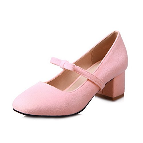 BalaMasa Womens Bows Chunky Heels Low-Cut Uppers Pink Suede Pumps Shoes - 5 B(M) - Cathy Pink Ribbon