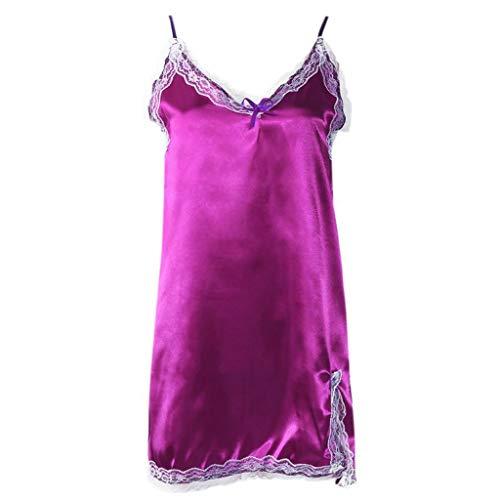 - Ice Silk Fashion Brand new Women Sexy Scalloped Ribbons Trim Nightgown Spaghetti Straps Lingerie Split Bowknot Decoration Casual Sleepwear Dress