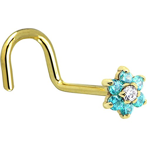 Body Candy Solid 14k Yellow Gold Mint Green and Clear Cubic Zirconia Flower Right Nose Stud Screw 18 Gauge 1/4
